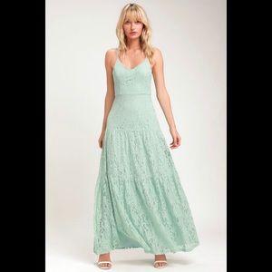 Lulu's Finely Light Sage Green Lace Maxi Dress